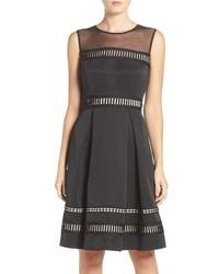 Illusion yoke faille fit flare dress medium 963879
