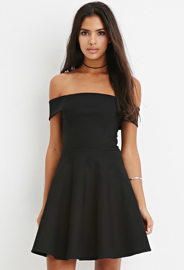 Forever 21 Off The Shoulder Fit Flare Dress | Where to buy & how to wear