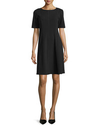 Lafayette 148 New York Seamed Short Sleeve Fit Flare Dress