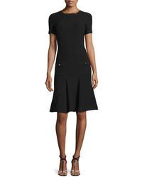 Oscar de la Renta Short Sleeve Fit And Flare Knit Dress Black