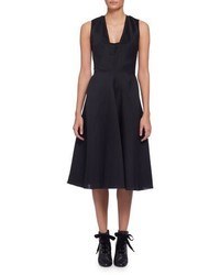 Lanvin Sleeveless Fit  Flare Midi Dress Black