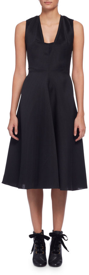 Lanvin Sleeveless Fit Flare Midi Dress Black Where To Buy How To