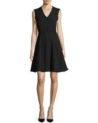 Rebecca Taylor Sleeveless V Neck Fit And Flare Tweed Dress