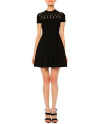 Valentino Sunburst Fit  Flare Dress Black