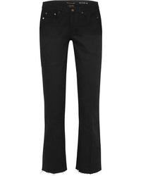 Saint Laurent Cropped Frayed Low Rise Flared Jeans