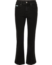 ALEXACHUNG Cropped High Rise Flared Jeans