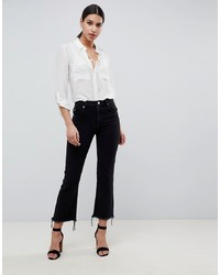 ASOS DESIGN Egerton Rigid Cropped Jeans In Washed Black With Raw Hem