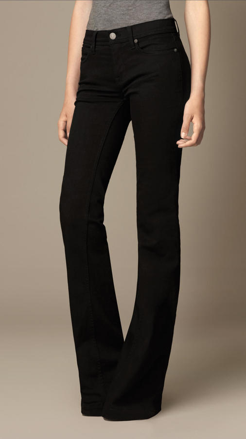 Burberry Flare Fit Regular Rise Deep Black Jeans | Where to buy ...