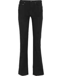 Saint Laurent Frayed High Rise Flared Jeans Black