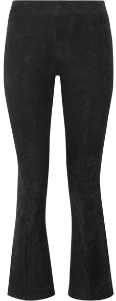 The Row Athby Stretch Suede Bootcut Pants Black