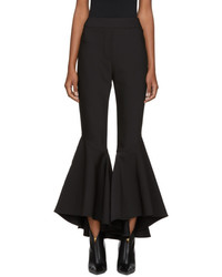 Ellery Black Sinuous Crop Flare Trousers