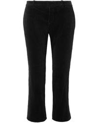 Saint Laurent Cropped Cotton Corduroy Flared Pants
