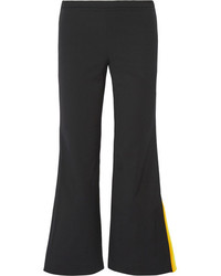 Emilio Pucci Cropped Striped Silk Trimmed Wool Blend Flared Pants Black