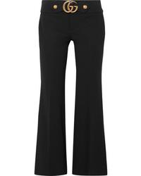 Gucci Embellished Stretch Crepe Flared Pants