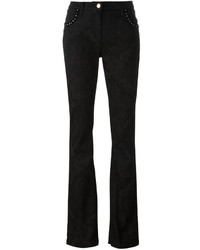 Etro Studded Paisley Texture Flared Trousers
