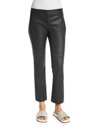 Brunello Cucinelli Flare Leg Cropped Leather Pants Volcano