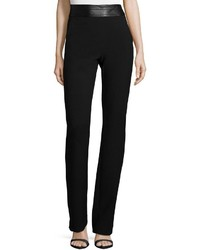 Halston Heritage High Waist Slim Boot Cut Pants Black