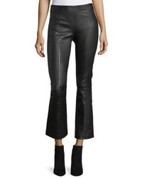 Helmut Lang Leather Mid Rise Crop Flare Pants
