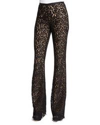 Michael Kors Michl Kors Collection Floral Lace Flare Leg Pants Black