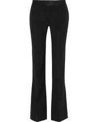 Victoria Beckham Satin Trimmed Wool Gabardine Flared Pants