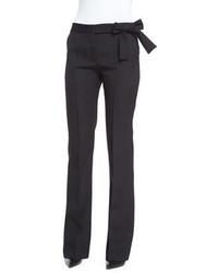 Victoria Beckham Side Bow Gabardine Flared Trousers