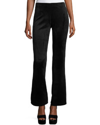 Max Studio Stretch Velvet Flare Leg Pants Black