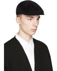 Yohji Yamamoto Black Wool Structured Flat Cap