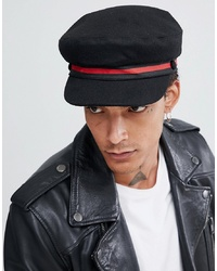 ASOS DESIGN Mariner Cap In Black Melton With Stripe Band