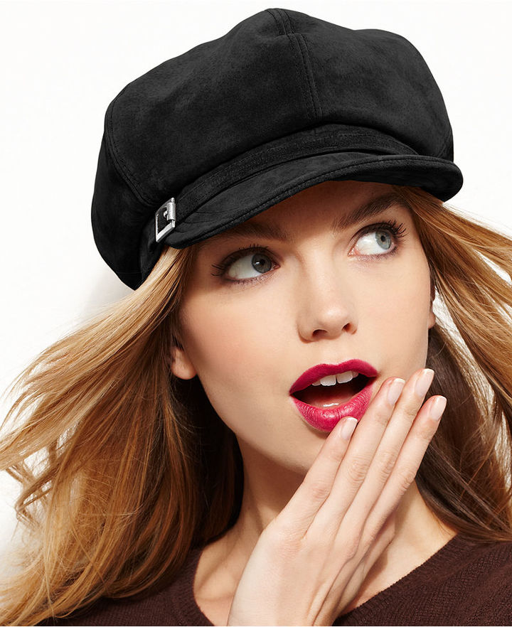 2e61d823d784a ... Black Flat Caps Nine West Suede Newsboy Hat