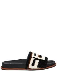 Fendi 20mm Logo Shearling Slide Sandals