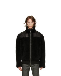 Neil Barrett Black Shearling And Leather Jacket