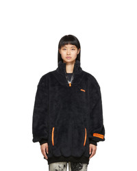Heron Preston Black Oversized Fire Fleece Sweatshirt