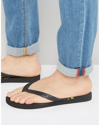 Versace Jeans Flip Flop With Logo In Black