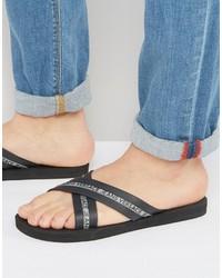 Versace Jeans Logo Crossover Flip Flop In Black