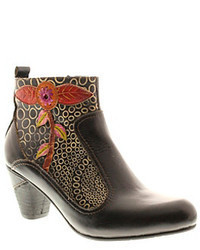 Black Floral Ankle Boots