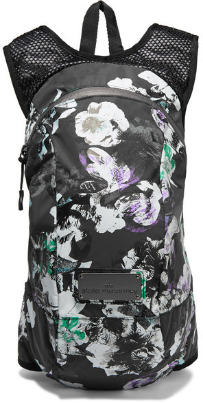 13fd7ee0cd ... adidas by Stella McCartney Floral Print Shell And Mesh Backpack Black  ...