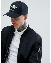ASOS DESIGN Baseball Cap In Black With Floral Plaza Embroidery