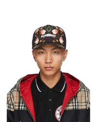 Burberry Black Rose Print Baseball Cap