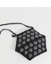 Glamorous Floral Beaded Hexagonal Shoulder Bag