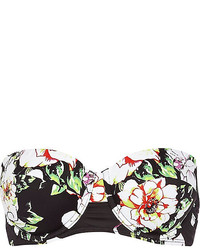 River Island Black Floral Print Bustier Bikini Top