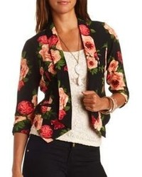 Charlotte Russe Floral Print Cropped Blazer