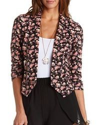 Charlotte Russe Floral Print Open Cropped Blazer