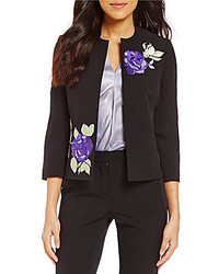 Kasper Crew Neck 34 Sleeve Floral Embroidered Open Front Crepe Jacket