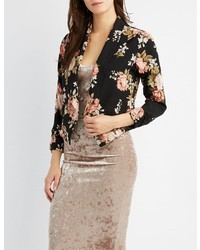 Charlotte Russe Floral Ruched Sleeve Blazer