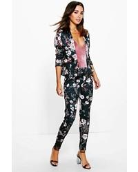 Boohoo Florence Printed Floral Blazer Skinny Trouser Set
