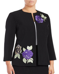 Nipon Boutique Plus Embroidered Floral Blazer