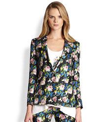 MSGM Silk Floral Print Blazer