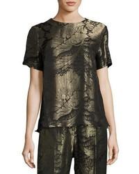 Etro Floral Lam Jacquard Short Sleeve Top Black
