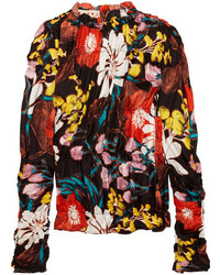 Marni Ruched Floral Print Silk Twill Top Black