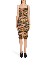 Dolce & Gabbana Floral Print Ruched Tulle Body Con Dress